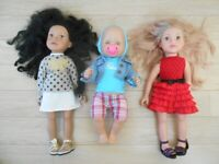 3 TOY DOLLS WITH CLOTHES. 2 DESIGN-A-FRIEND GIRLS & 1 ZAPF CREATION BABY BOY DOLL (SWINDON)