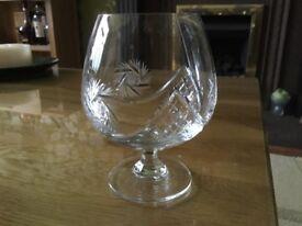 Pair of Lead Crystal Brandy Glasses
