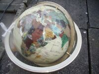 World globe on rotating brass stand featuring mother of pearl & semi precious stones