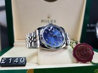 New boxed with papers silver bracelet blue dial fluted bezel Rolex Date just watch Automatic sweep