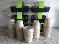 6 x Plastic Propagators + 60 Peat Fibre Pots - New