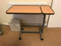 Height adjustable over the bed table