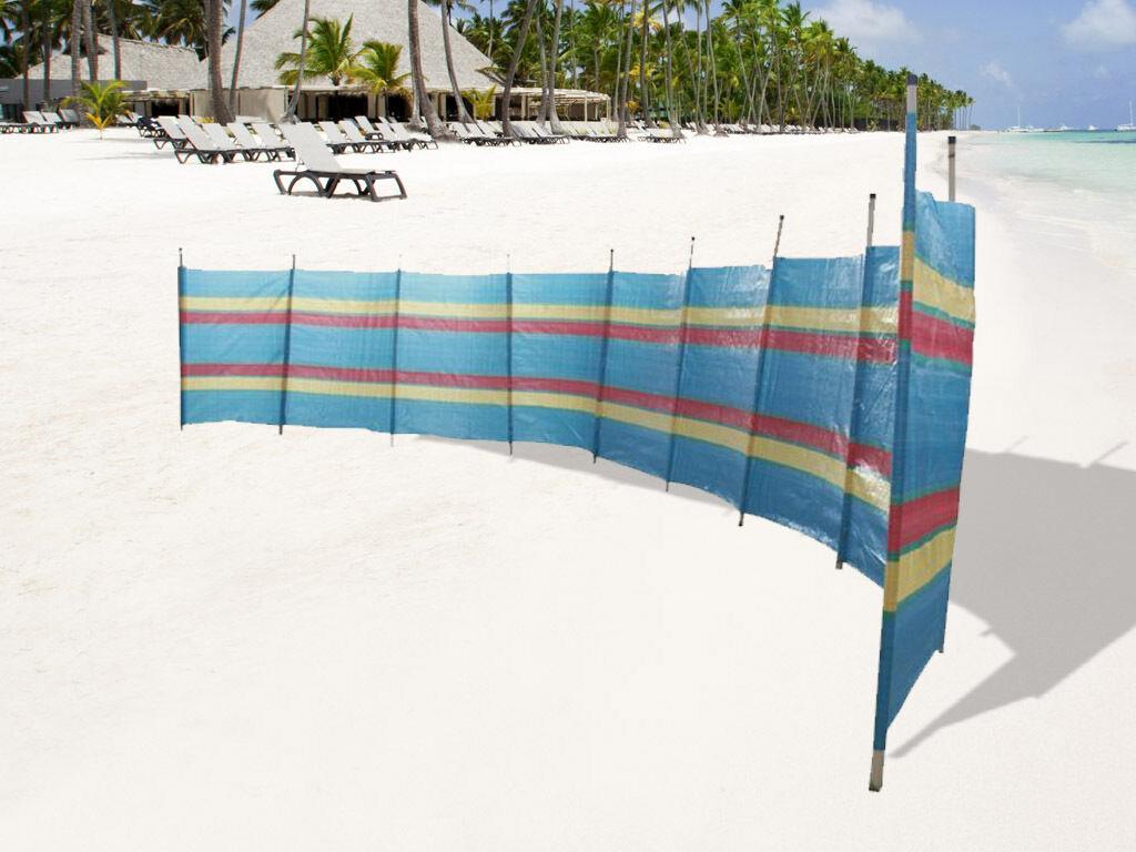 BISEN 6 POLE WINDBREAK EXTRA WIDE WIND BREAK TALL COLOURFUL 12FT BEACH HOLIDAY CARAVAN CAMPING SUN SHELTER GARDEN SCREEN TALL WINDBREAKERS WIND BREAKER BREAKERS