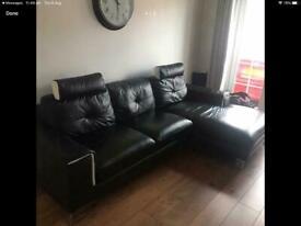Black Italian Leather Designer corner Sofa