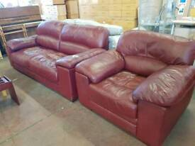 Red leather 2 seater with chair