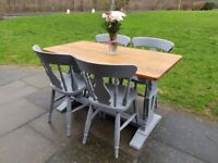Grey Vintage FARMHOUSE dining set. Oak refectory TABLE + 4 CHAIRS. Shabby chic FREE LOCAL DELIVERY