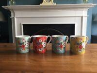 4 lovely Cath Kidston mugs, hardly used.