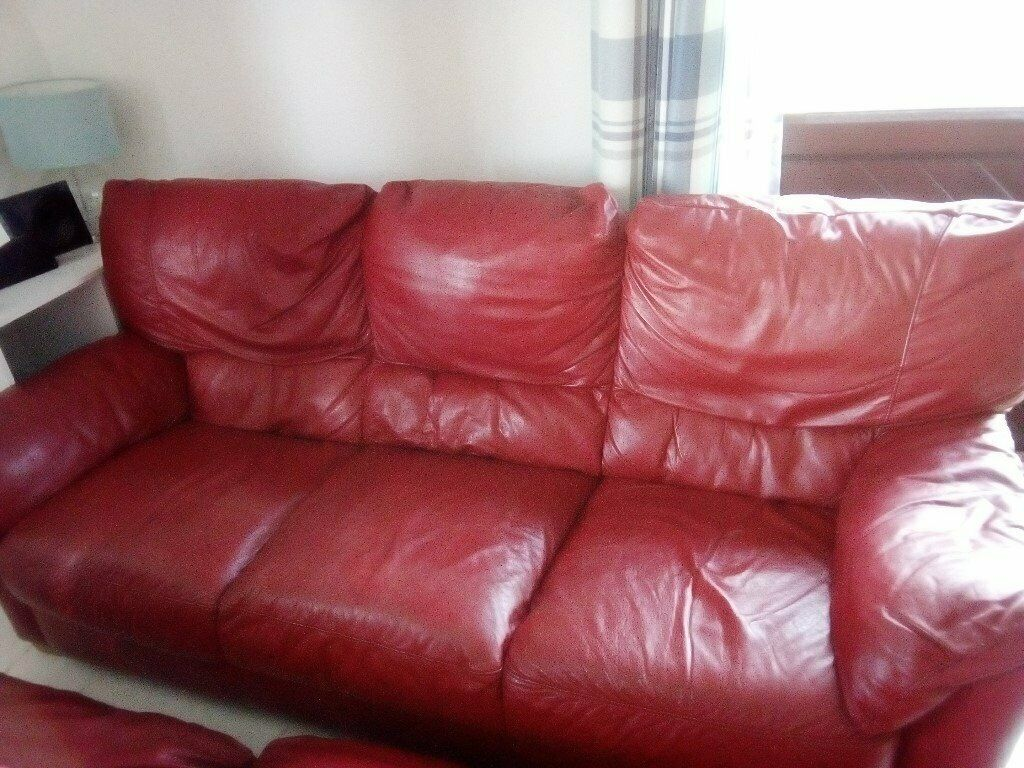 - 2x 3 Seater Red Leather Ikea Sofas And A Reclining Chair In Bude