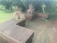 Wooden Garden Benches x 2 with cutouts for planters