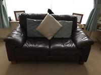 2 and 3 seater DFS sofas for sale. Brown leather.