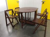 Solid wooden fold away table + 4 chairs •free delivery