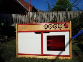 Children's wooden kitchen set cooker and sink and wooden fridge all in good condition