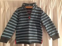Boden Top for Boys, blue / dark grey stripes, excellent condition, 2-3 years