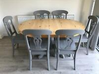 Farmhouse style solid pine table and six chairs