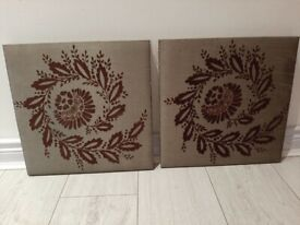 2 grey silk material canvas pictures