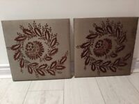 2 grey silk material canvas pictures *collection only*