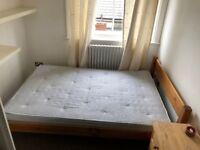 Wooden double bed frame + mattress