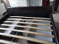 """KING SIZE, 5"""" SLEIGH BED IN BROWN, GOOD CONDITION, 4 DRAWERS"""