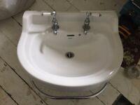 White BATHSTORE Savoy Pedestal Basin & Taps