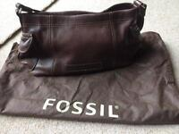 Fossil brown soft leather bag