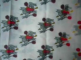 Tattoo Print Lining Fabric GALLIANO STYLE ROCK N ROLL MENSWEAR LOVE HEART – Perfect condition