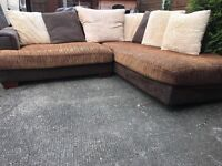 "L shape in BROWN QUITE BIG 6""-4"" LOVELY CONDITION WITH CUSHIONS"