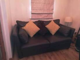 Two seater settee, chair and foot stool