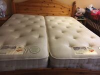 Sturdy wooden super king size bed with mattress for sale.