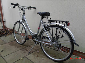 "Dawes red feather 19""ladies bicycle with easy stepover silver frame in immaculate condition"
