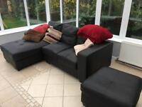 Faux Leather Corner Sofa and Foot Stool £250