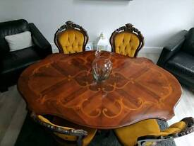 Vintage dining table six chairs