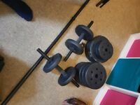 2x dumbells, 1x barbell, 30kg weights