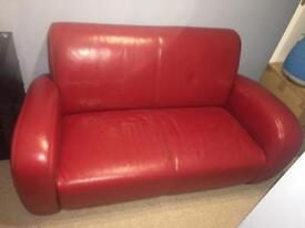QUALITY RED LEATHER 2 SEATER