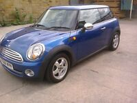 MINI ONE. 1.4 PETROL BLUE. 08 REG.