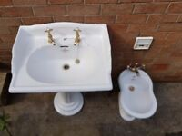 Sanitan vintage, retro basin with pedestal, taps and waste + Sanitas bidet with tap and waste