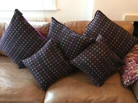 Abraham Moon Purple & Spotted Cushions x5