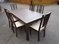 Ikea Bjursta Brown Extending Table 175cm - 260cm & 6 Borje Chairs FREE DELIVERY 220