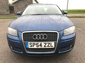 LOW MILES 05 AUDI A3, *1.6 ENGINE- 6 SPEED GEARBOX*, FULL YEAR MOT, FULL LEATHER SEATS...