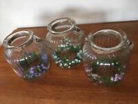 Three large ribbed glass candle jars - wedding decoration