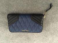 Miu Miu Zip Around Wallet Black/Navy Quilted Leather