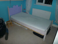 Childs Wooden single bed frame and memory foam matress, in need of small repair