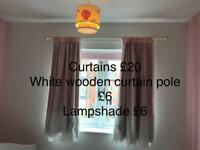 Curtains, curtain pole, and lamp shade