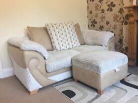 Cream fabric Sofa 2 seater & foot stool