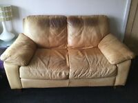 DFS aniline leather 2 seater sofa