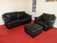 BLACK LEATHER TWO SEATER SOFA CHAIR & POUFFEE