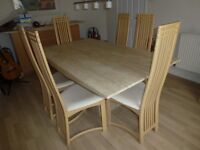 Travertine dining table and chairs