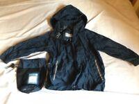 Waterproof jacket in bag, age 3-4 years, navy