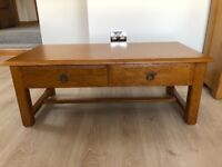 New England multi oak coffee table. H45cm W120cm D60cm
