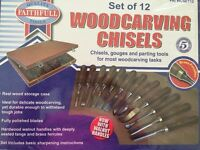 New and sealed set of 12 woodcarving chisels in wood storage case