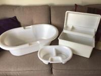 Mothercare baby bath, nappy box and top/tail bowl.